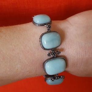 Turquoise & Silver Lucky Brand Bracelet - (B5)